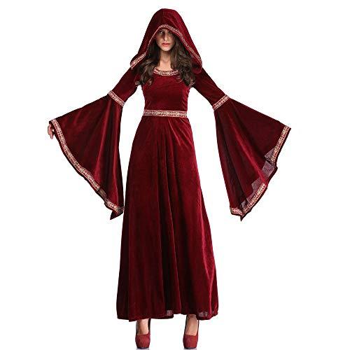 Ritual Heidnisches Kostüm - ZMDHL Halloween Weinrot Vampir Zauberer Kostüm European Vintage Court Dress Up Gericht Kleid,M