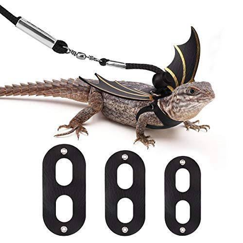Vavopaw Lizard Reptiles Leash & Wings Set (S/M/L 3 Pack), Adjustable Bat Wing Shaped Harness Costume Kit for Lizards, Bearded Dragon, Iguanas, Reptile & Small Animals -