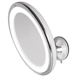 AIC - International Hestec 23464Kosmetikspiegel LED, Touch-Schalter, Kunststoff/ABS / Polystyrol, Silberfarben, 19,5x7,5x19,5cm