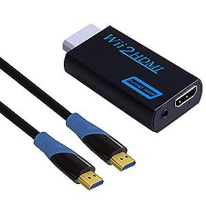 Kinstecks Wii zu HDMI Konverter Wii HDMI Konverter mit 1080P / 720P Videoausgang und 3,5 mm Audio + 1M HDMI-Kabel f¡§?r Nintendo Wii