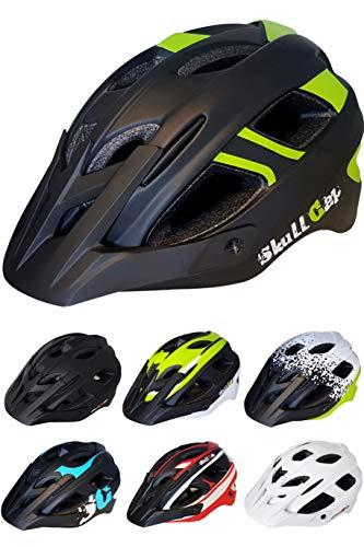 Skullcap® Fahrradhelm ♦ MTB Mountainbike Helm Herren & Damen ♦ Schwarz/Neon-Grün matt ✚ Visier/Helmschild, Größe L (58-61 cm)