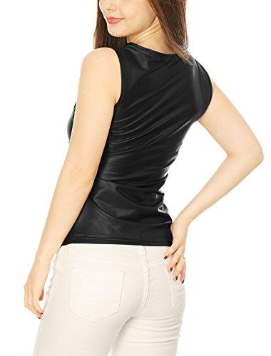 Allegra K Femme Encolure U Sans Manches Extensible Brillant Modèle Débardeur Black