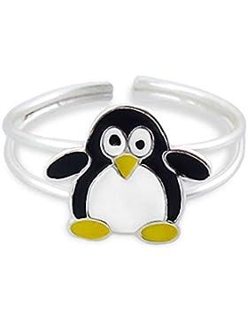 SL-Collection Kinder Ring Zehring schwarzer Pinguin Grösse einstellbar 925 Silber