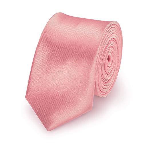 StickandShine Krawatte Altrosa slim aus Polyester einfarbig uni schmale 5 cm -