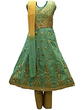 GCS3253 Juego de Churidar de Green and Brown Girl Indian Bollywood Fancy Dress