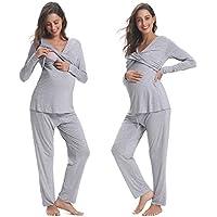 Hawiton Ropa Premamá de Lactancia Algodón Pijama para Mujer Vestido