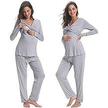 Hawiton Pijama de Lactancia Invierno Ropa Premamá Embarazadas Algodón Mangas Largas