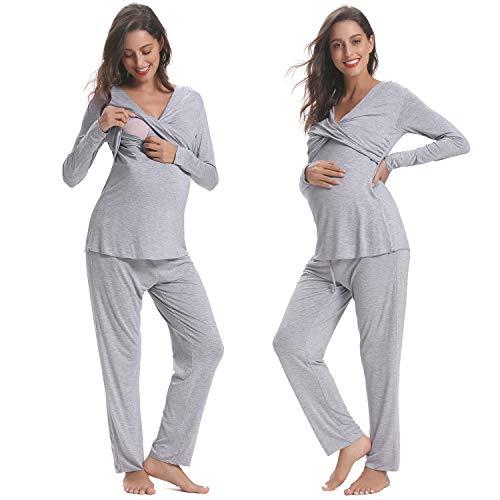 Hawiton premaman da donna set pigiama lungo manica lunga con pantaloni morbido pigiama lungo vestito per allattamento