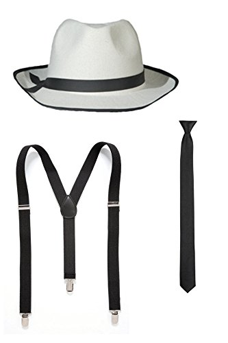 20er 30er Jahre Gangster Outfit Kostüm Zubehör (Weiß) (1920er Jahre Theater Kostüm)