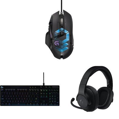 Logitech Proteus Spectrum G502 Gaming Maus schwarz + Logitech Mechanische Gaming Tastatur + Logitech Gaming-Kopfhörer