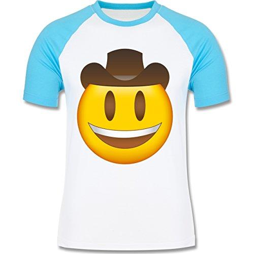Shirtracer Comic Shirts - Emoji Cowboy-Hut - Herren Baseball Shirt Weiß/Türkis