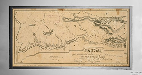 1820Karte New York|Champlain Canal|and Profil der Champlain Canal als aus Lake Champlain|Historic Antik Vintage Reprint|Ready Zum Rahmen