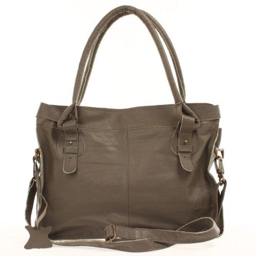 LECONI Henkeltasche Damentasche Leder Vintage Schultertasche 37x28x10cm LE0036 taupe dunkel