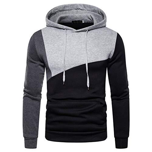 SuperSU-Sweatshirt Herbstmode Herren Casual Warmer Einfach mit Taschen Langarm Kapuzen-Sweatshirt 2-Tone Spleiß Tops Locker Bequeme Kapuzenpullover Lässiges Street Style Pulli