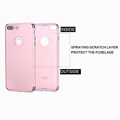 Hanlesi iPhone 7 Plus Hülle, Anti-Scratch Shockproof Slim Fit with Electroplating Frame Soft Touch Matte Hard Protect Cover for iPhone 7 Plus 5.5-Rose Gold Rose gold