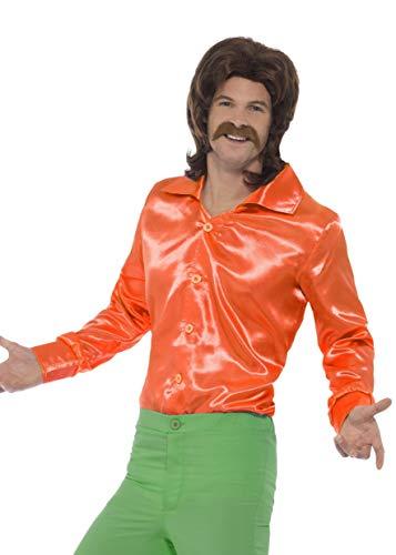 Smiffys Herren 60er Jahre Hemd, Größe: M, Orange, 44909