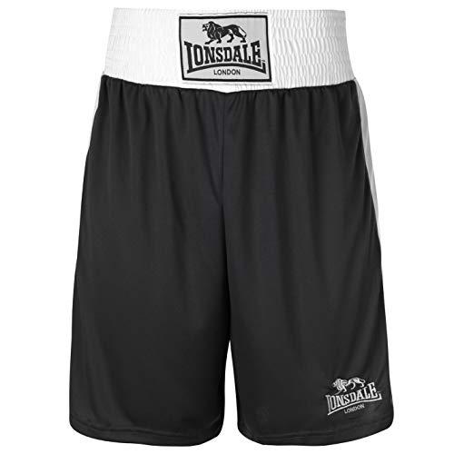 Lonsdale Herren Boxing Shorts Trainingshose Boxen Sporthose Kurze Hose Schwarz Large