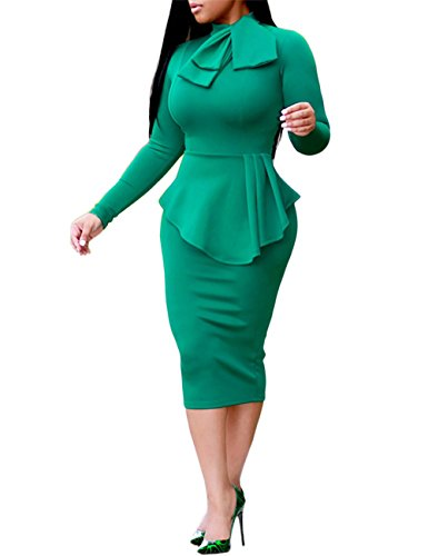 Boutiquefeel Damen Tie Neck Peplum Hohe Taille Langarm Bodycon Dress Grün XL (Slinky Schauen)
