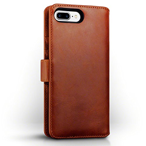 Coque Cuir iPhone 8 Plus / iPhone 7 Plus, Terrapin Étui Housse en Cuir Véritable pour iPhone 8 Plus Étui - Cognac Cognac