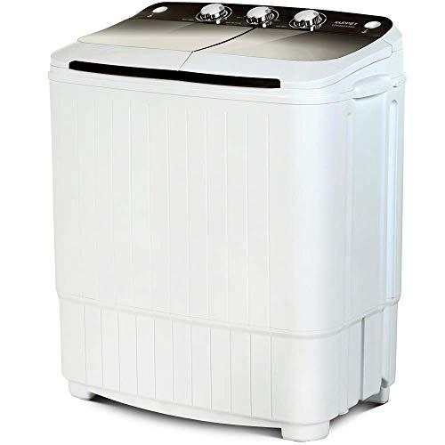 KUPPET Tragbare Waschmaschine, Compact Twin Tub Wash & Spin Combo für Wohnung, Schlafsäle, Wohnmobile, Camping und mehr, Weiß & Braun
