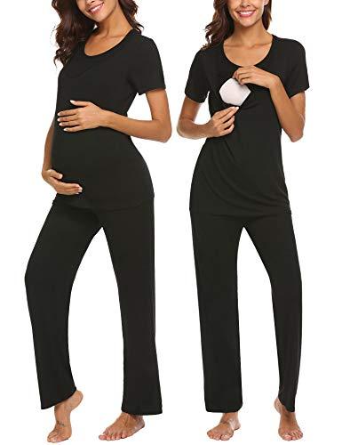 Unibelle Damen Kurzarm Umstands Pyjama mit Stillfunktion (Womens Lounge Shirt L/s)