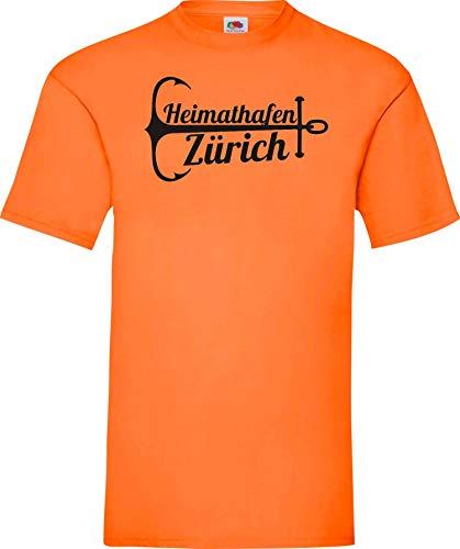 Shirtinstyle T-Shirt, Urlaub, Familie Heimat, Heimathafen Zürich, Lieblingsstadt, Heimatort, Familie, Urlaub, City, Stadt, sprüche, Farbe orange, Größe S