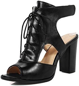 HN Shoes Sandalias Bloque De Tacón para Mujer con Punta Abierta Negro De Encaje hasta Zapatos Noche Fiesta,Black...