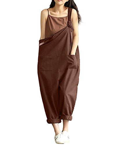 StyleDome Damen Lässig Insgesamt Baggy Taschen Lange Harem Playsuit Hose Jumpsuits Overalls (36, Schwarz)