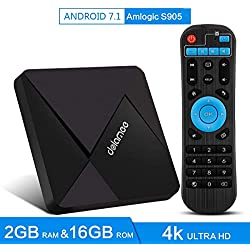 TV Box Android 7.1-Dolamee D5 2GB RAM + 16GB ROM Mini Smart TV Box,4K HD/3D/Amlogic Quad Core S905W 64 bits/Bluetooth 4.0/2.4GHz WiFi/LAN10/100M 2019 New Lecteur Multimédia