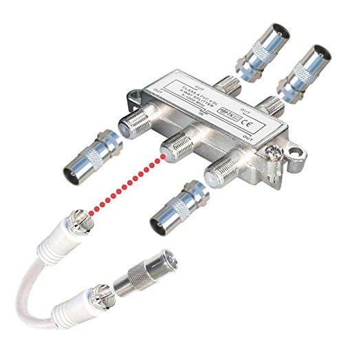 4-fach TV-Verteiler mit Koax-Adaptern und Kabel; für Kabel-TV; 1 Eingang - 4 Ausgänge; Profi - Qualität für HDTV ; mit Rückflusssperre und Entkopplung; Metall-Gussgehäuse
