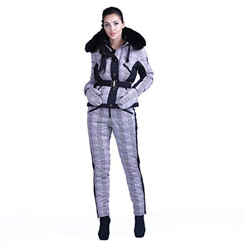 ROLF KASSEL Women Winter Outdoor Alternative Down Suit With Faux Fur Collar (multicolor, s)