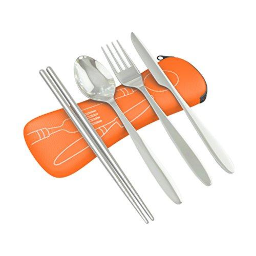 Roaming Cooking - Set di posate da viaggio da 4 pezzi in acciaio inossidabile (coltello, forchetta, cucchiaio, bacchette), leggere, completo di custodia in neoprene - arancia