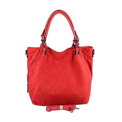 OBC DAMEN XXL TASCHE SHOPPER Handtasche Umhängetasche Henkeltasche Baumwolle Canvas Schultertasche Stofftasche REISE URLAUB (Rot)