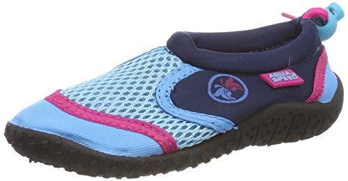Aqua-Speed Aquaschuhe - Wasserschuhe Für Strand - Meer - See - Ideale Badeschuhe Als Schutz Für Füsse - #AS14, Türkis/Navy/Pink, 40