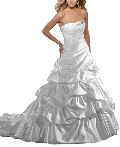 GEORGE BRIDE Traegerlosen Pick-up Ballkleid Kapelle Zug Satin Brautkleider Hochzeitskleider,Groesse 48,Weiss (Pickup Ballkleid)