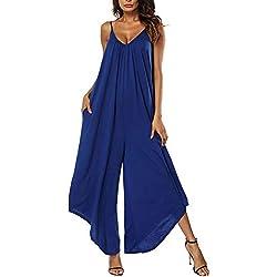 Vertvie Femme Combinaison Pantalon Jambe Large à Bretelles Jumpsuit Rompers sans Manches Col V Décontracté (L, Bleu)