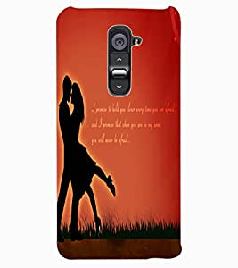 ColourCraft Loving Couple Design Back Case Cover for LG G2