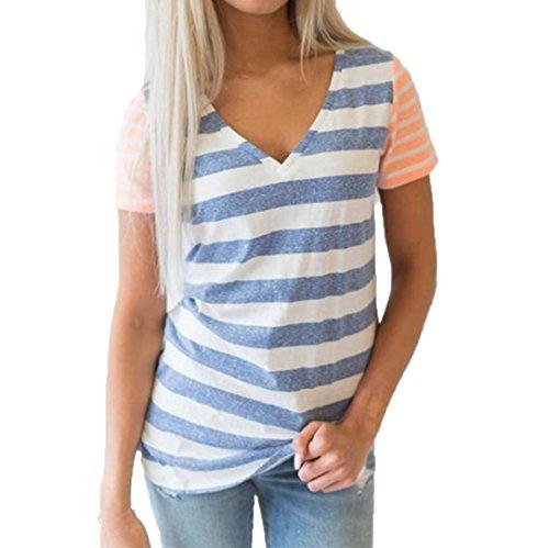 Preisvergleich Produktbild V-Ausschnitt Damen Tops CLOOM Casual T-Shirt Urlaub Hemd Basic Gestreift Oberteil Niedlich Streetwear Frauen Blusen Hemdbluse Raglan Sport Pullover Jumper Kurzarm Tuniken (Blau, L)