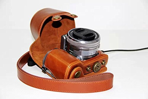 Protective Compact Leather Case with Shoulder Strap for SONY Alpha NEX 5, NEX-5C, NEX-5N (18-55mm) Digital Camera (Light Brown) -