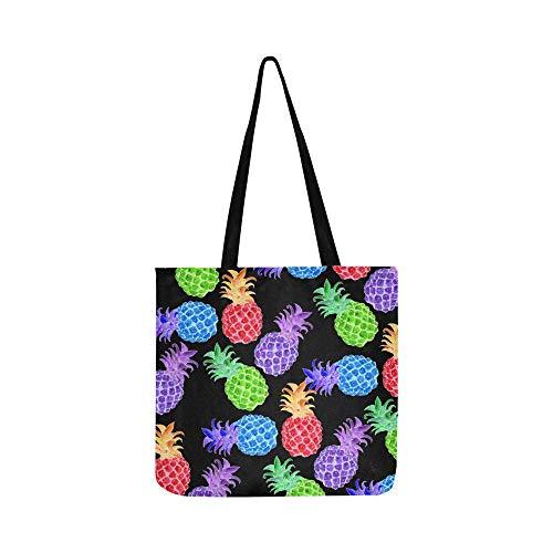 Stoffe Farbe gezeichnete Ananas farbig SHAOKAO SHAOKAO Canvas Tote Handtasche Schultertasche Crossbody Taschen Geldbörsen für Männer und Frauen Shopping Tote