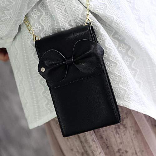 Details Geldbörse (Olydmsky Damen Geldbörse,Frauen Bogen Detail Metallkette vertikale one-Shoulder Umhängetaschen Kleine Handtasche 10 * 17 * 5,5 cm)