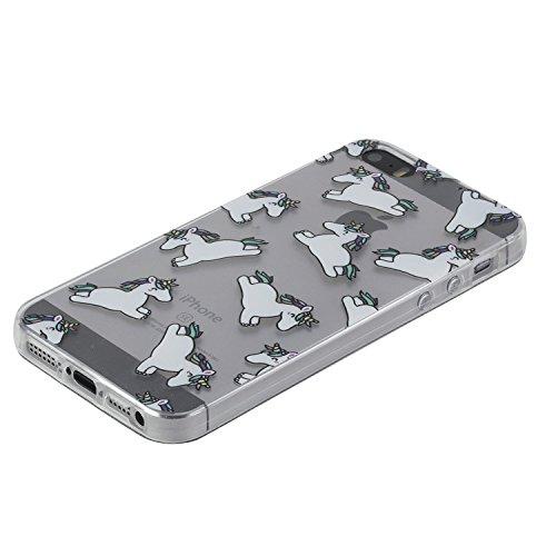 Pour iPhone SE caoutchouc cas coque,iPhone 5 housse ,Herzzer transparente Case housse for iPhone 5S,[Fleur de pêche Modèle] Résistant aux rayures Ultra mince Doux TPU Gel Silicone transparente Clair C Unicorn