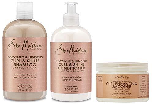 Shea Moisture Coconut & Hibiscus Curl TRIO: Includes Curl & Shine Shampoo, Curl & Shine CONDITIONER, Curl Enhancing Smoothie by Shea Moisture - Shine Curl Conditioner