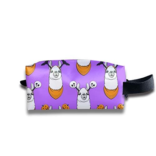 (im kleinen Maßstab) Halloween Liebende Lamas W Stirnbänder - Lila C18BS_11668 Tragbare Reise Make-up Kosmetiktaschen Organizer Multifunktions-Tasche Taschen für - Spanisch Halloween-aktivitäten