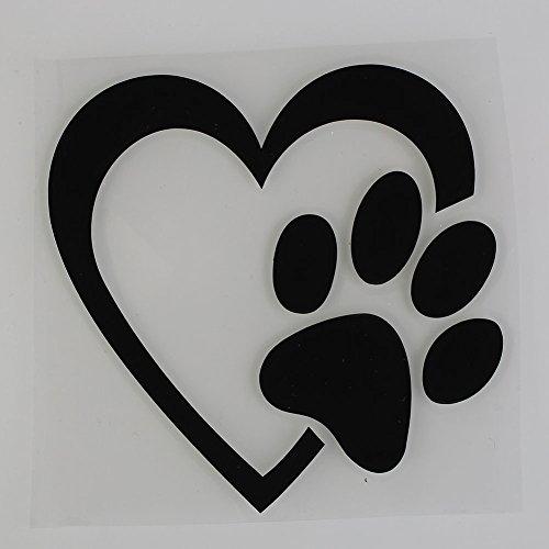 Sedeta Schwarz Auto Aufkleber und Abziehbilder 1 Stück reflektierende lustige Liebe Haustier Hund Katze Tier Paw Print