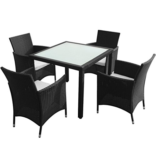 vidaXL 9-tlg. Poly Rattan Gartenmöbel-Set Sitzgruppe Essgruppe Gartengarnitur Schwarz