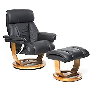 41Sr1L9m65L. SS300  - GFA, Global Furniture Alliance The Mars - Genuine Leather Recliner Swivel Chair & Matching Footstool in Choice of 5 Colours.