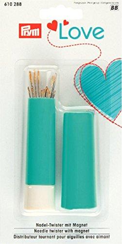prymlove Nadel Twister mit Magnet inkl. Sortiert Nähen und Stopfen Hand-Sewing Nadeln, Metall/Kunststoff, türkis