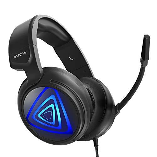 Auriculares Gaming PS4 LED, Mpow-318 Sonido Envolvente, Casco Gaming PC, Micrófono de...