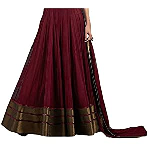 Salwar Suit (Lovisa Fashion Women's Net Semi-stitched Salwar suit (Copper_All) (Maroon)